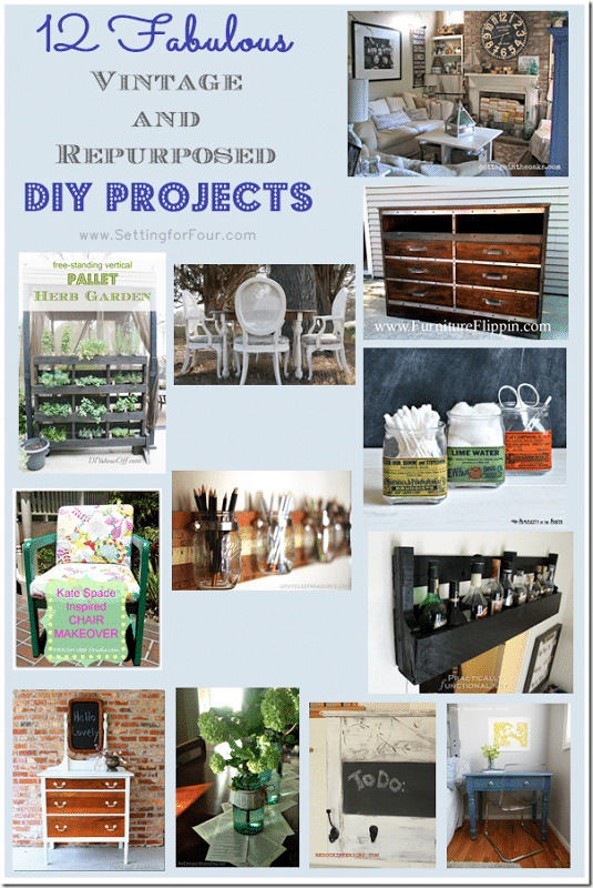 12 Fabulous Vintage and Repurposed DIY Projects from Setting for Four