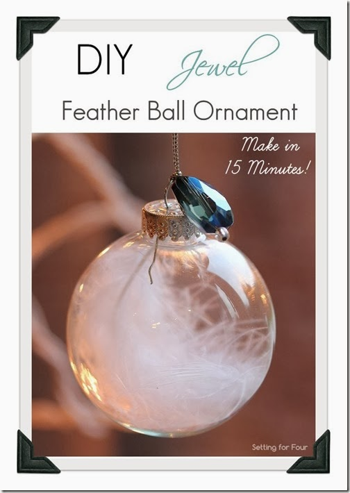15 Minute is all it takes to make these pretty DIY Jewel and Feather Ball Ornament! Hang on your tree or use as a present or gift bag topper! Great handmade Christmas craft and gift idea.