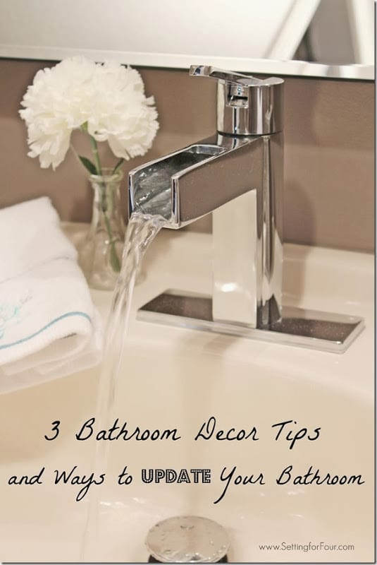 Dreaming of turning your bathroom into a spa-like sanctuary? 3 Beautiful Bathroom DIY Decor Tips and Ways to Update your Bathroom! www.settingforfour.com