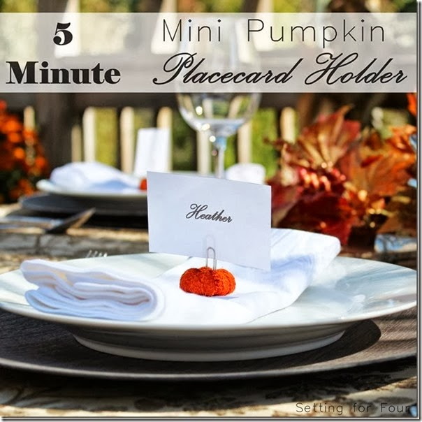 5 Minute Mini Pumpkin Placecard Holder DIY