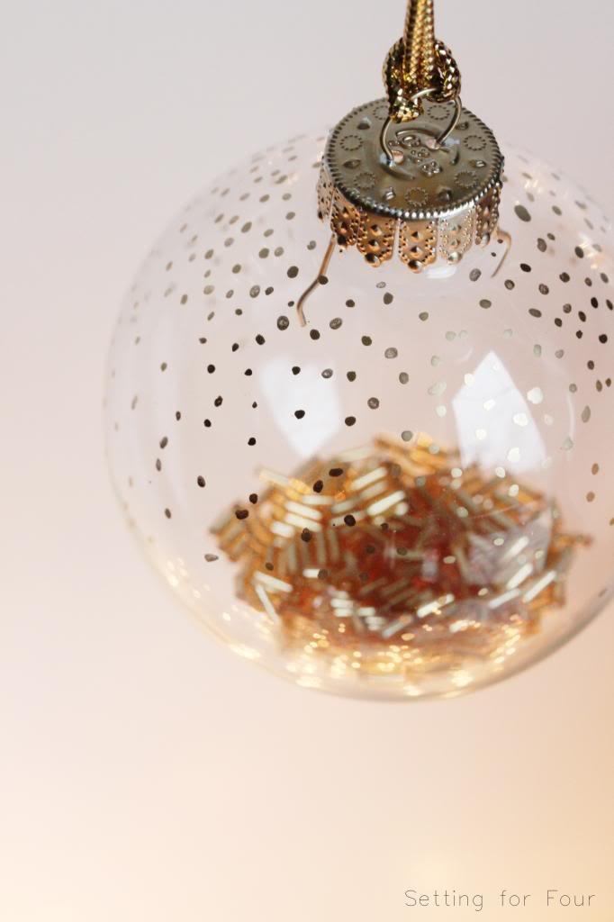 Easy 5 Minute Gold Dot and Bead Filled Holiday Ornament | www.settingforfour.com