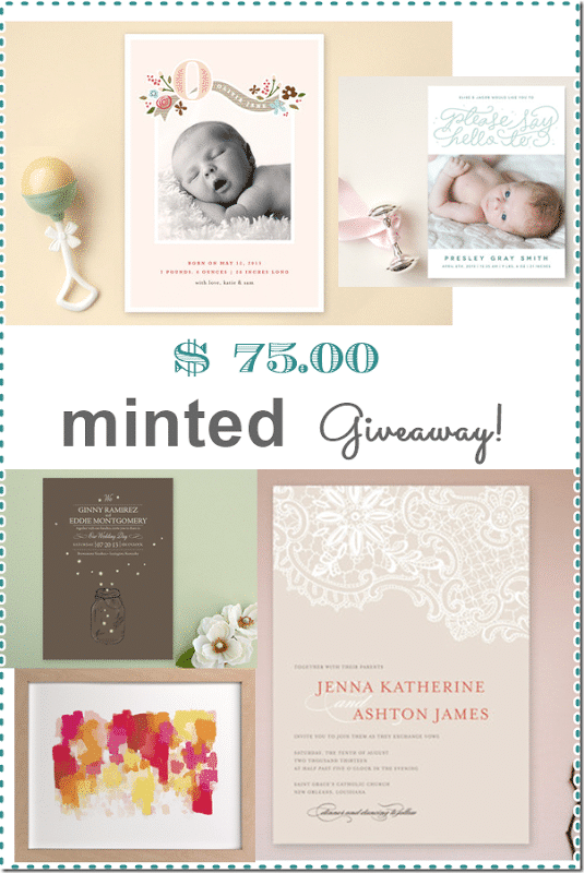 $75 Minted Giveaway at Setting for Four
