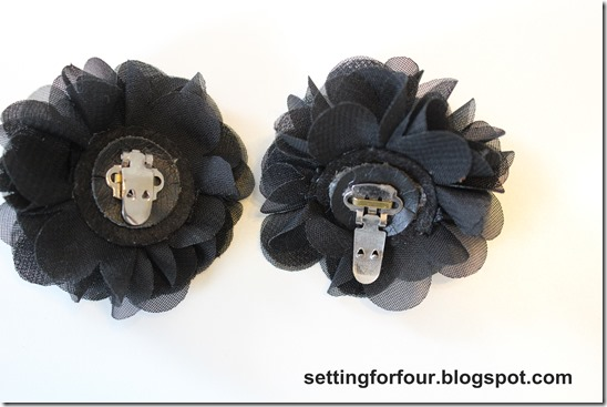 Add clip to fabric flower.  DIY shoe Clips  from Setting for Four #diy #easy #clip #shoe