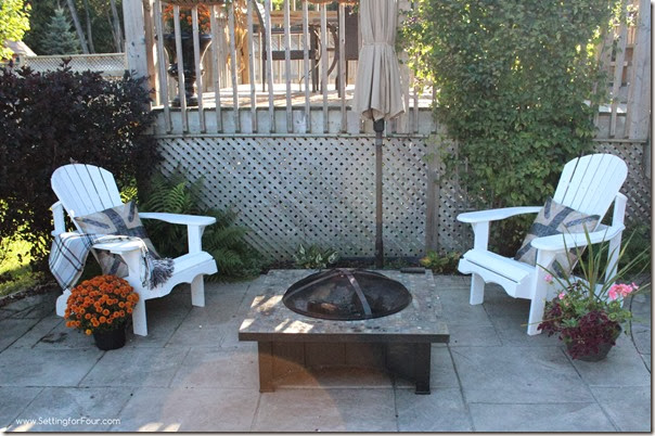 Adirondack chairs by Firepit at Setting for Four