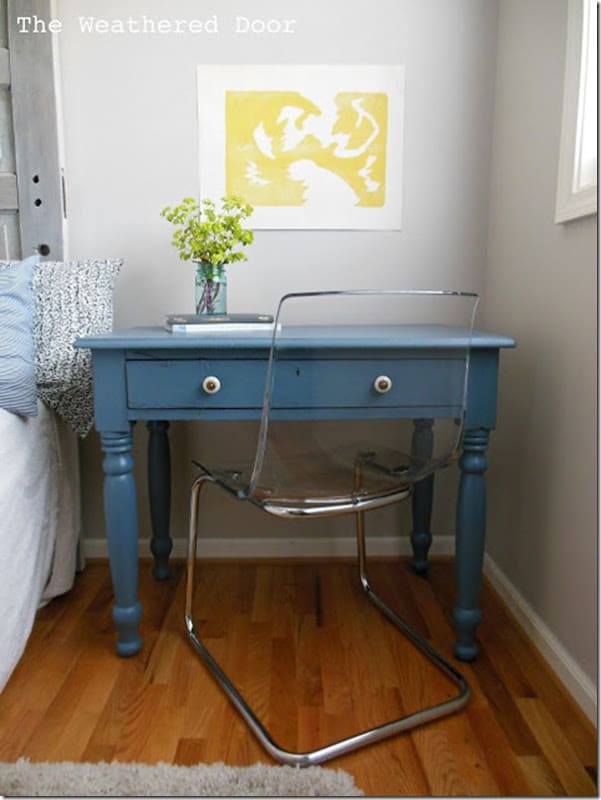Antique blue-grey writing desk WD 2