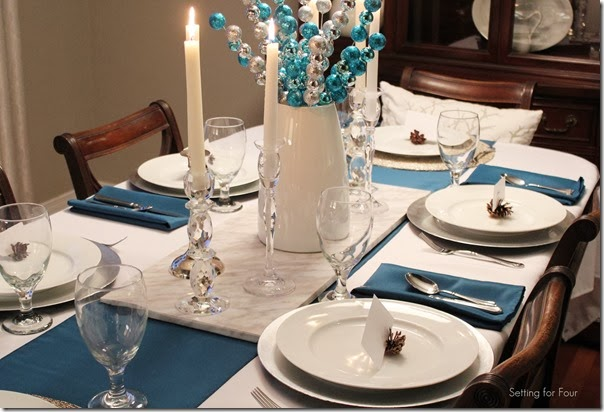 Beautiful Table Linens at Setting for Four