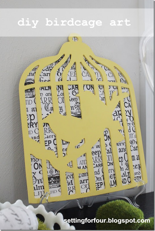Birdcage Art DIY from Setting for Four #art #diy #birdcage