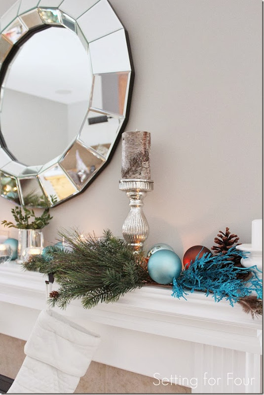 Blue Christmas Glam Mantel