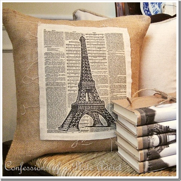 DIY Linen and Burlap Vintage Eiffel Towel Pillow