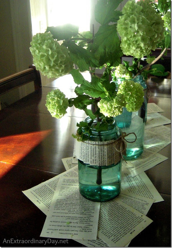 Centerpiece-Blue-Ball-Jars-Snowball-Bush-AnExtraordinaryDay.net_