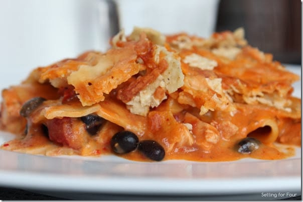 Cheesy Mexican Lasagna recipe with Tortilla Chip Topping