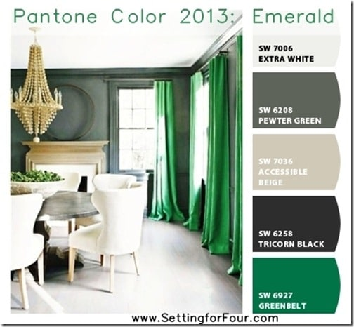 Chip it Palette with Pantone 2013 Emerald from Setting for Four.  Get the skinny here: https://www.settingforfour.com/2013/01/pantone-color-2013-emerald-with-sherwin.html  #color #paint