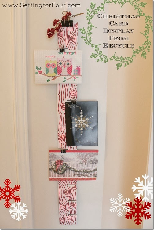 Christmas Card Display from Recycle Material