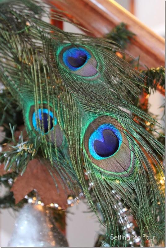 Christmas Peacock feather decor