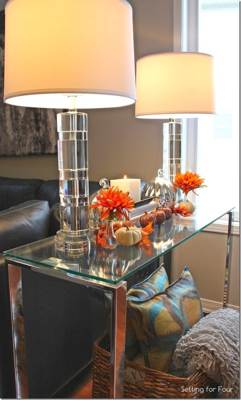 Console table decorated for Fall with autumn color and texture!