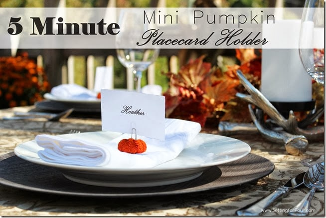 DIY 5 Minute Mini Pumpkin Placecard Holder - add a pop of burnt orange color to your fall and Thanksgiving table!