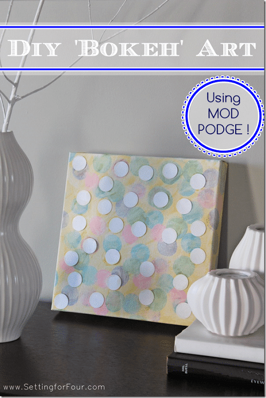 This easy DIY abstract art is an easy craft for kids! Make wall art from a canvas, paint, Mod Podge and paper - so fun for kids!