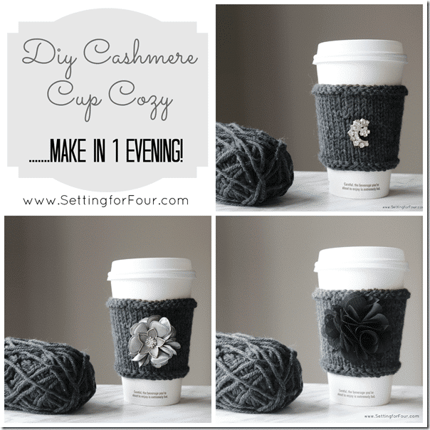 Learn how to make these 3 DIY Cashmere Cup Cozies - in 1 Evening! Quick and Easy Mug Cozy idea. Supply list and knitting tutorial included. These make fabulous gift ideas!