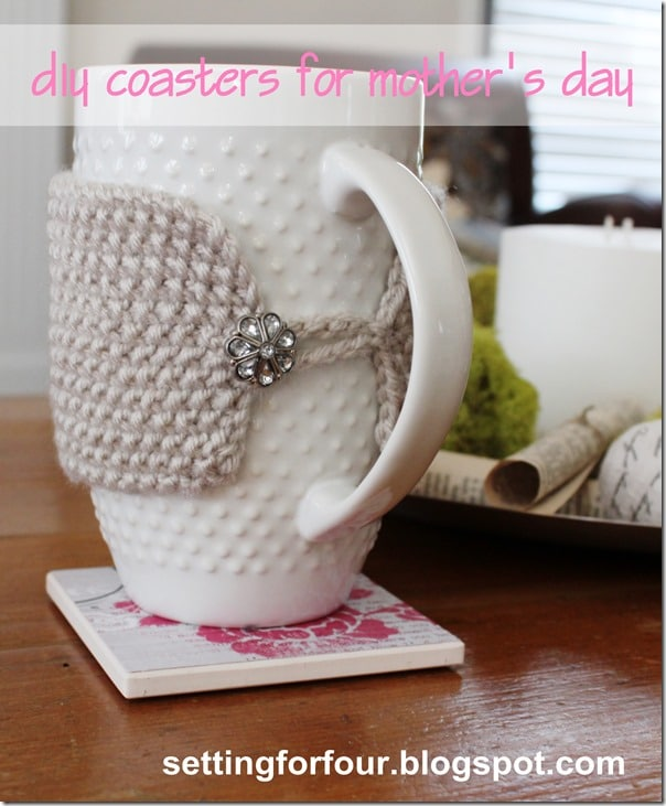 DIY Coasters for Mothers Day Gift from Setting for Four #diy #coaster #modpodge #mothersday