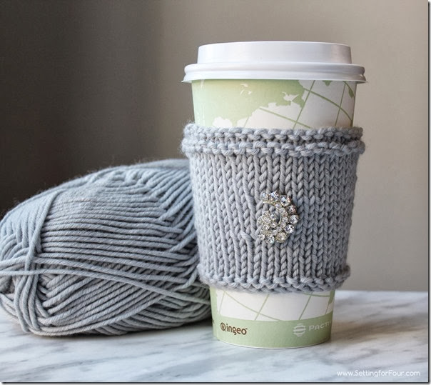 Mug Cozies Knitting Pattern : DIY Extra Soft Knitted Cup Cozy - Great Gift Idea! - Setting for Four