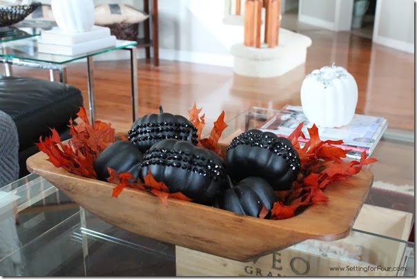 DIY Glam Crystal Pumpkin in Antiqued Dough Bowl Setting for Four