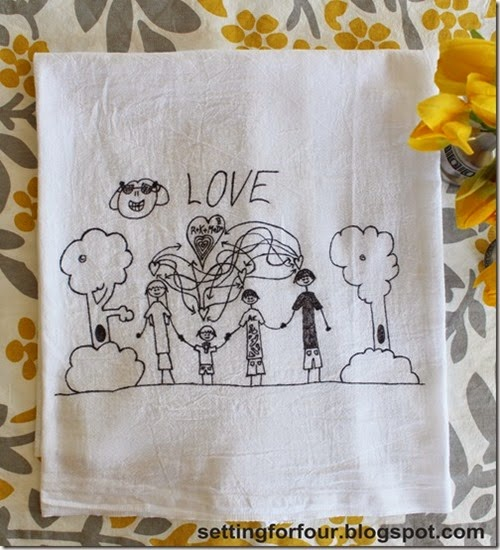 Turn Kid's art into tea towels! Fun DIY to do with the kids artwork and great gift idea!