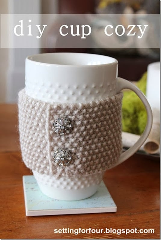 DIY Quick Knit Cup Cozy with vintage buttons