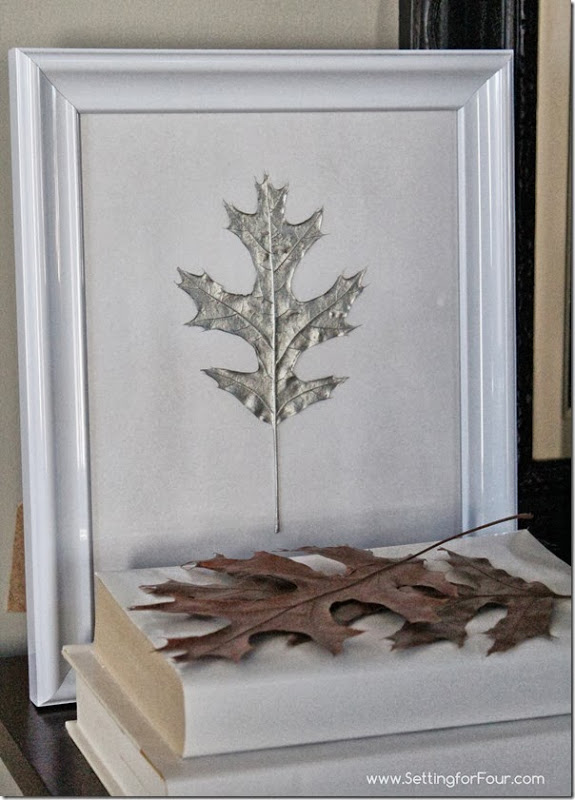 DIY Silver Painted Oak Leaf Art from Setting for Four