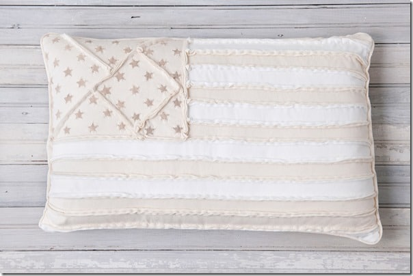American flag pillow in neutral colors