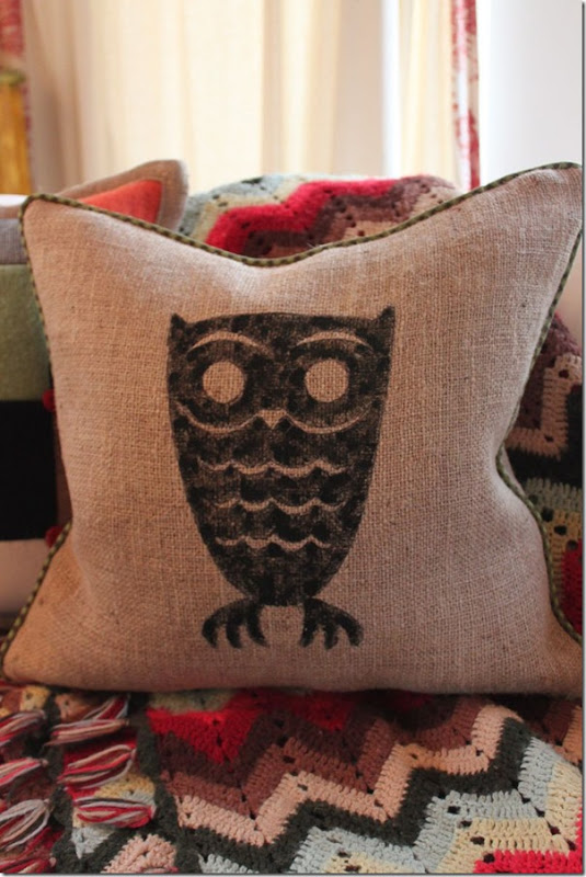 Burlap Owl Pillow
