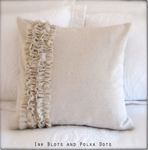 Drop cloth pillow with ruffle tutorial