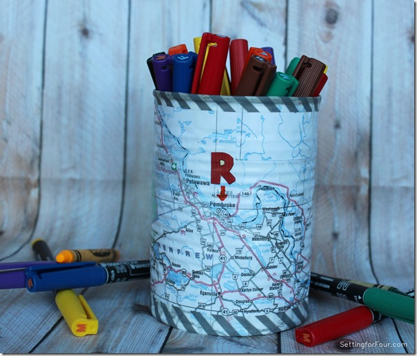 DIY Map and Washi Tape Pen Holder Kids Craft www.settingforfour.com