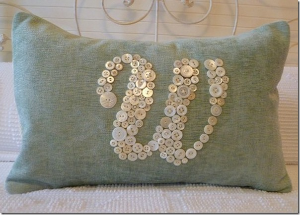 Monogram Button Pillow
