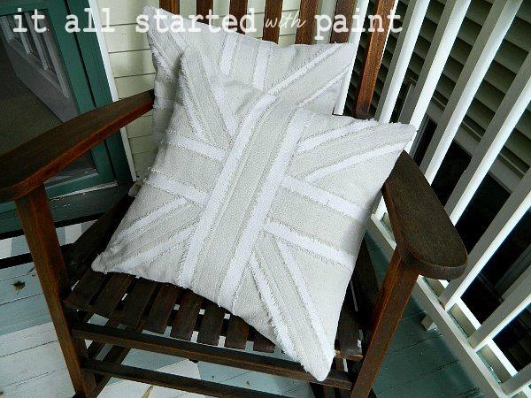 Union Jack flag drop cloth Pillow tutorial