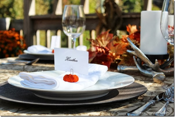 Dining on the deck - a Fall tablescape with adorable and easy to make DIY pumpkin place cards!