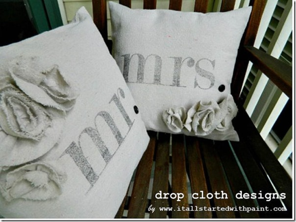Drop cloth Mr and Mrs Pillow