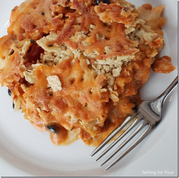 Easy Cheesy Mexican Lasagna recipe with Tortilla Chip Topping