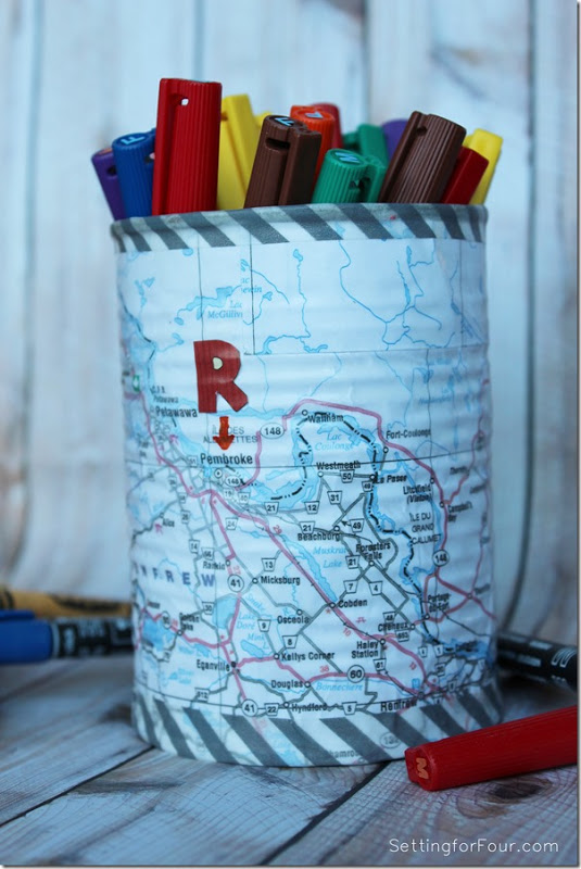 Easy Map and Washi Tape Pen Holder tutorial www.settingoforfour.com