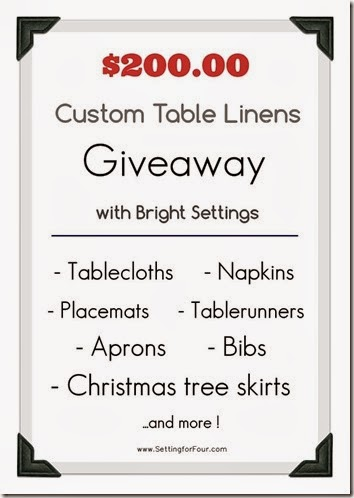 Enter to win $200 Table Linen Giveaway with Bright Settings - Setting for Four fb