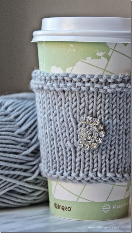 Extra Soft Knitted Cup Cozy DIY from Setting for Four