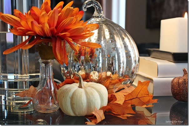 Gorgeous Fall Vignette with mums and pumpkins