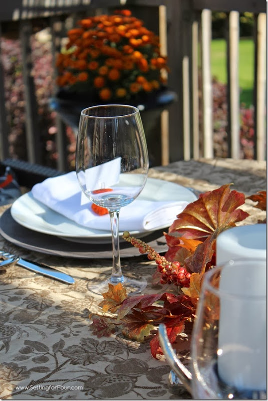Fall Tablescape Outdoor dining at Setting for Four