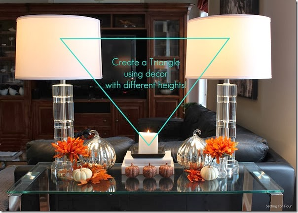 Decor tips: How to create a Fall Vignette using the Triangle technique.