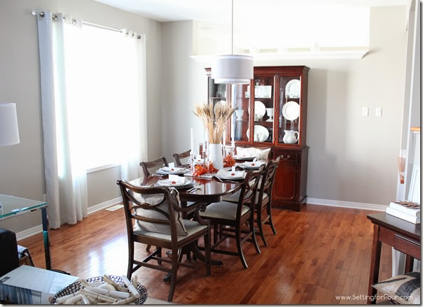 Fall decorated Dining Room from Setting for Four