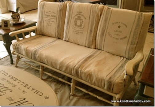 French Grain Sack Settee painted with Milk Paint