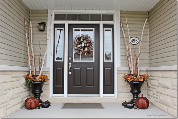 Front Entryway decorated for Fall from Setting for Four