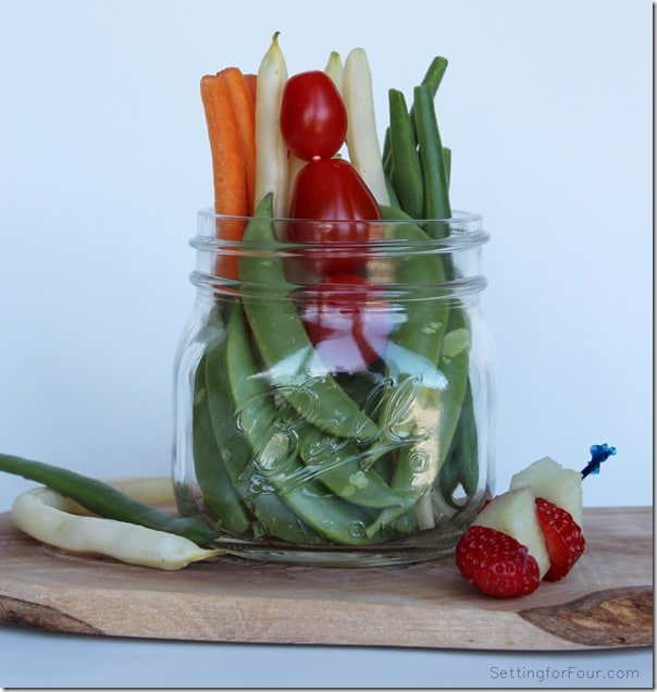 Healthy Vegetable and Fruit in a Mason Jar - yummy after school snack idea for kids! Helpful Back to School tip for Mom.