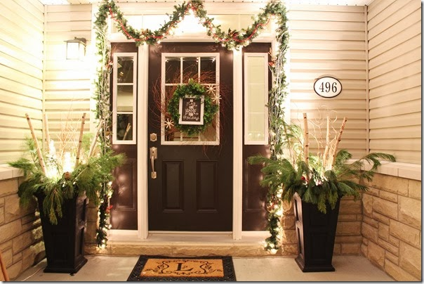 Holiday Entryway at night