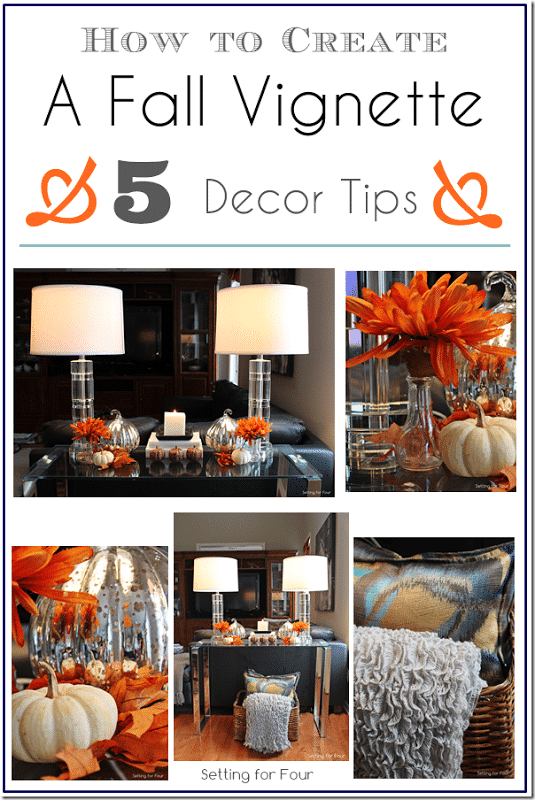How to Create A Fall Vignette: 5 EASY Fall Decor Tips to create a balanced vignette filled with gorgeous autumn color and texture! www.settingforfour.com