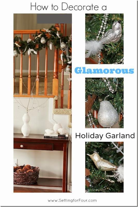 See how I decorated my holiday garland for the staircase! See the beautiful ornaments I added and how I hung the garland!